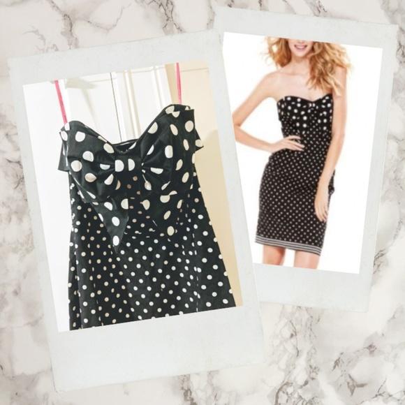 Betsey Johnson Dresses & Skirts - Betsey Johnson ▪ Polka Dot Bow Strapless Dress
